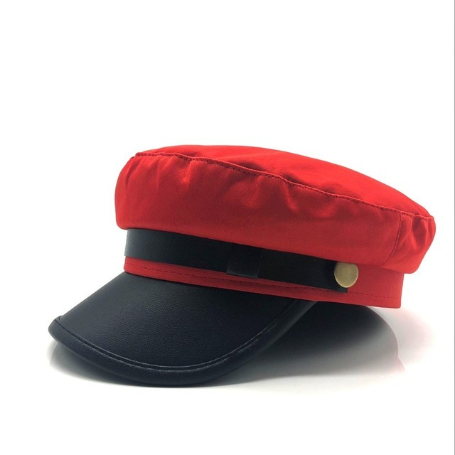 Unisex red black flat navy berets hat