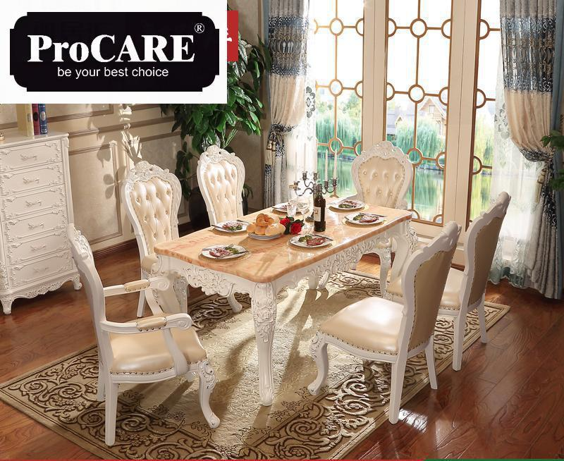 French New Design Dinning Room Furniture Marble Table Wooden Carving Dinning Table Sets