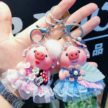 Cartoon pig girl keychain female creative cute crystal skirt keyring 4 color car key chain holder women bag pendant