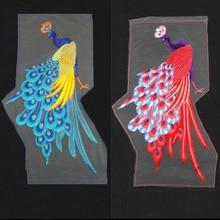 Nueva alta calidad peacook 27 * 56 cm remiendo del bordado, parches bordados coser parches bordados para ropa diy