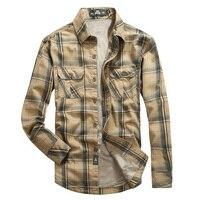 새로운 겨울 남성 긴 소매 셔츠 브랜드 옷깃 두껍게 따뜻한 남성 셔츠 패션 격자 무늬 남성 셔츠 플러스 벨벳 셔츠