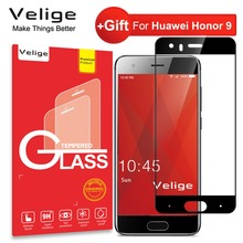 цена на Velige 2.5D Full Cover Tempered Glass for Huawei Honor 9 Honor9 Screen Protector HD Clarity 9H Glass Protective Film