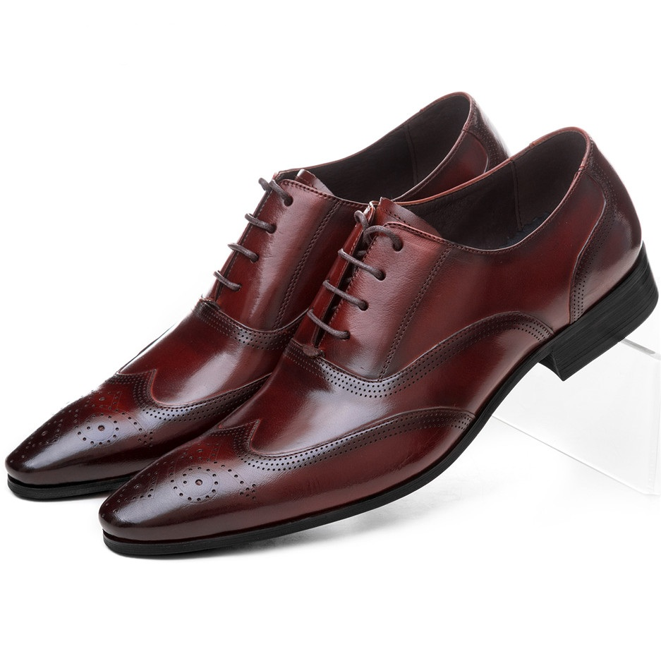 Mode noir/marron Tan Oxfords chaussures d'affaires en cuir véritable mariage marié chaussures chaussures hommes robe