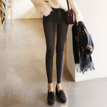 Весной 2016 новых Корейских женщин джинсы стрейч тонкий карандаш брюки брюки девять футов одного поколения