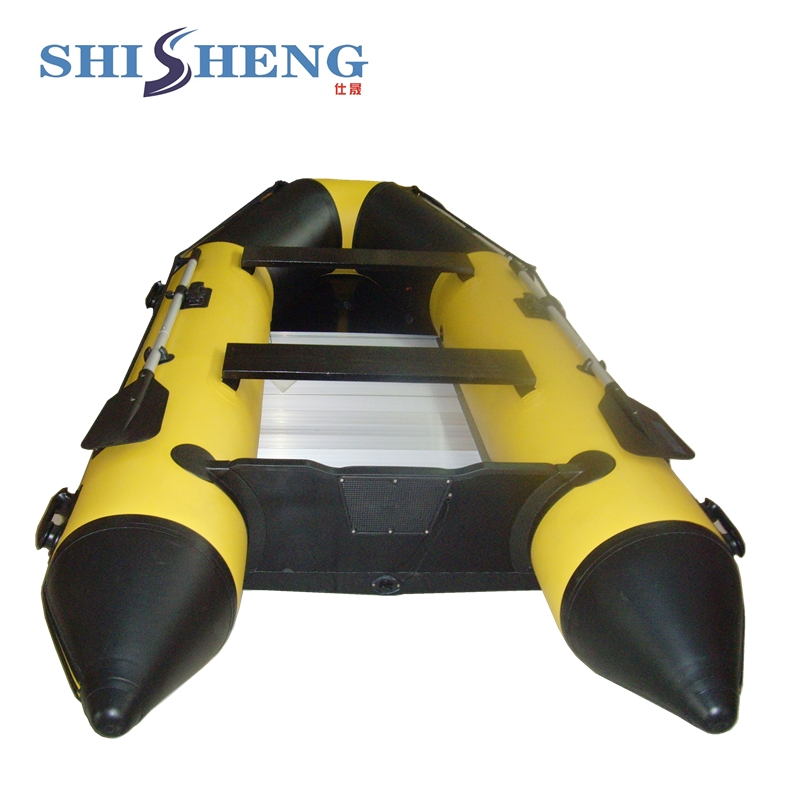 China aluminum floor inflatable boat with V shape bottom for sale 2017 aluminum floor inflatable folding boat 300cm army green and black for sale