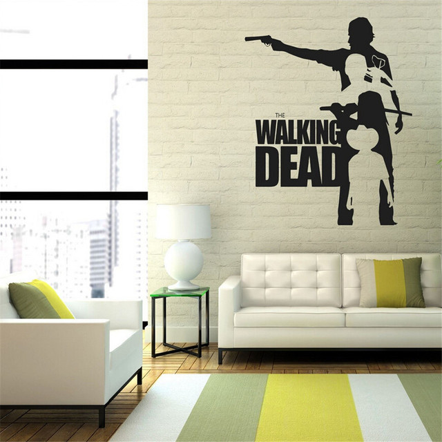 Poster Wall Stickers The Walking Dead Rick With Machine Gun Vinyl - Lego wall decals vinylaliexpresscombuy free shipping lego evolution decal wall