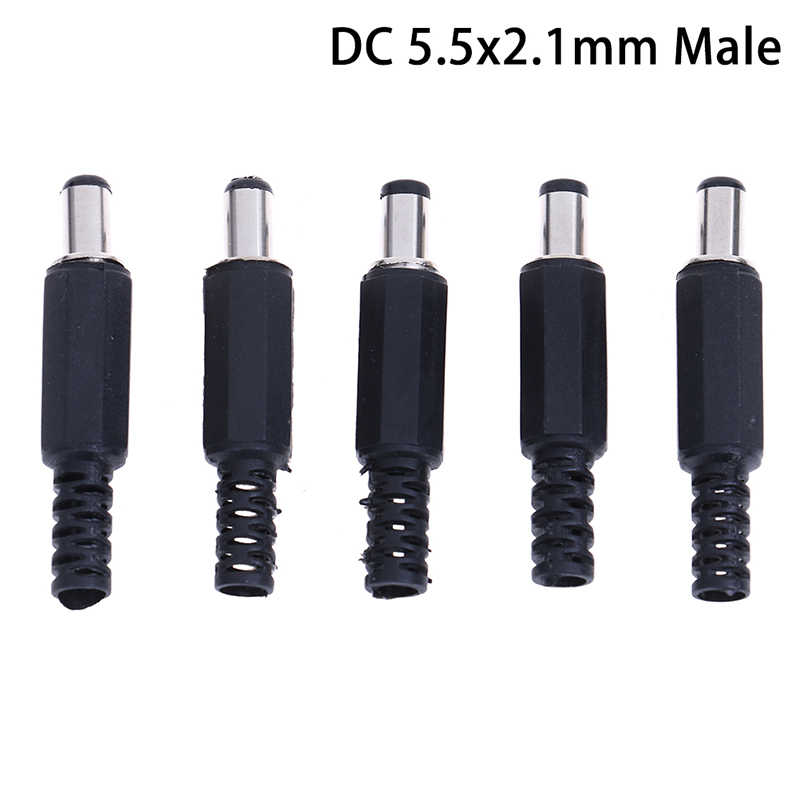 10 Buah Konektor Daya DC Pin 2.1X5.5Mm Female Plug Jack + Male Plug Jack Socket Adaptor PCB mount DIY Konektor Adaptor 2.1X5.5