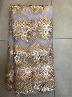 2017 phong cách Mới vải ren lưới Pháp 3D flower Châu Phi vải tuyn lưới vải ren chất lượng cao ren phi vải Trắng hạt vàng
