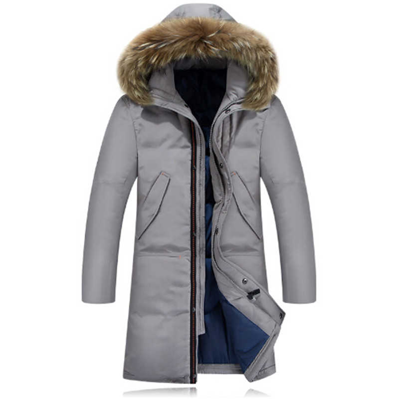 Fashion Winter Coat Men Warm Down Male Hooded Long Thickening White Duck Down Jacket Outwear Casual Solid Parkas 2015 fashion winter white duck down jacket warm nagymaros collar solid color outwear hooded slim long women coat winter dq514
