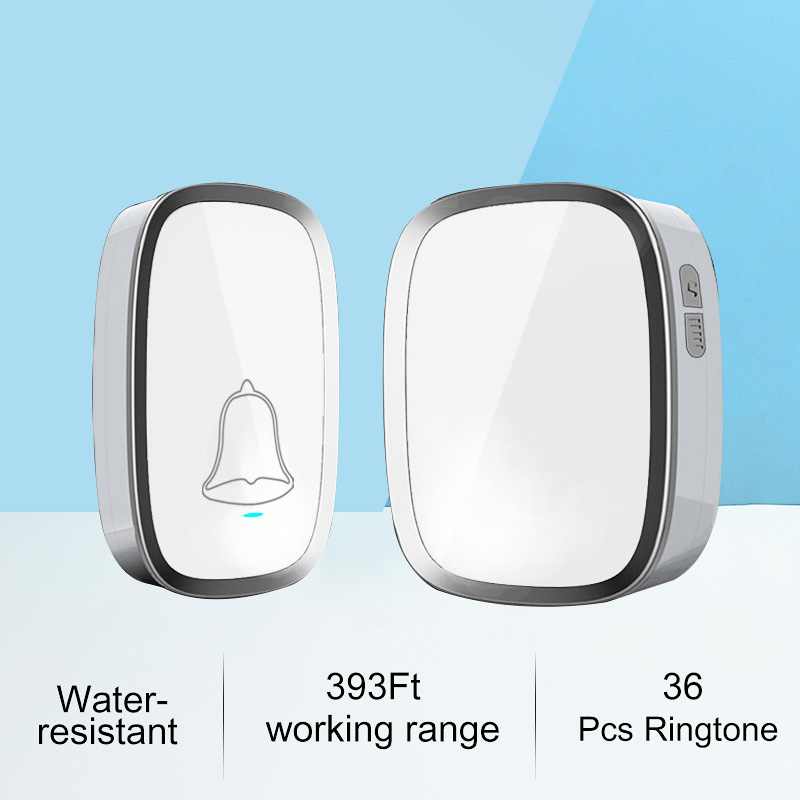 New White EU/US Plug Wireless Doorbell Waterproof Smart 36 Melody Led Ring Door Bell AC220V 1 Push Doorbells Button +1 Receiver new high quality wireless waterproof door bell 36 music melody 300m doorbell 3 transmitters 3 receiver home doorbells