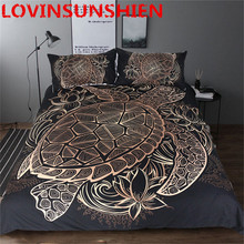 Bedding Outlet Turtles Bedding Set Duvet Animal Golden Tortoise Bed Cover Set King Sizes Flowers Lotus Home Textiles 3pcs Luxury(China)