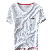 High Quality Linen T Shirt Men Hot Summer Shorts Sleeve V Neck Breathable Linen Cotton Soft
