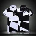 Лето квадраты разноцветный polo рубашка мужчины свободного покроя приталенный узор в горошек polo рубашки большой большие размер м-5xl, T805