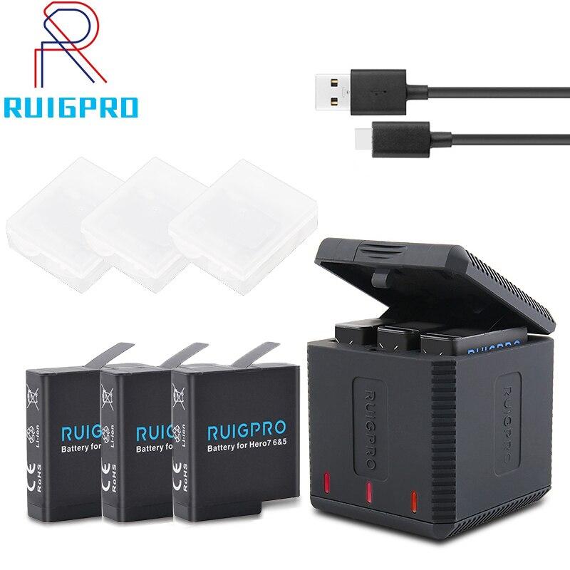 Nova 3-Way slot Carregador de Bateria LED de Carregamento Box Carry Case Bateria Habitação para GoPro Herói 7 6 5 acessórios Caixa de Bateria preta
