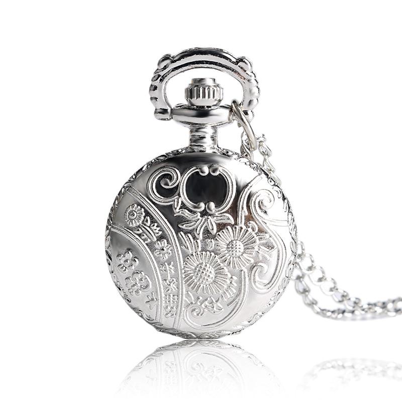 Стильные винтажные серебряные полые цветочные бабочки элегантные маленькие кварцевые карманные часы ожерелье подвеска для девушки женщины P605
