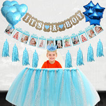 Baby Shower Boy Birthday Party Foil Balloons Tutu Table Skirt Paper Tassels For DIY Kids Favors Gifts Party Decoration Supplies(China)