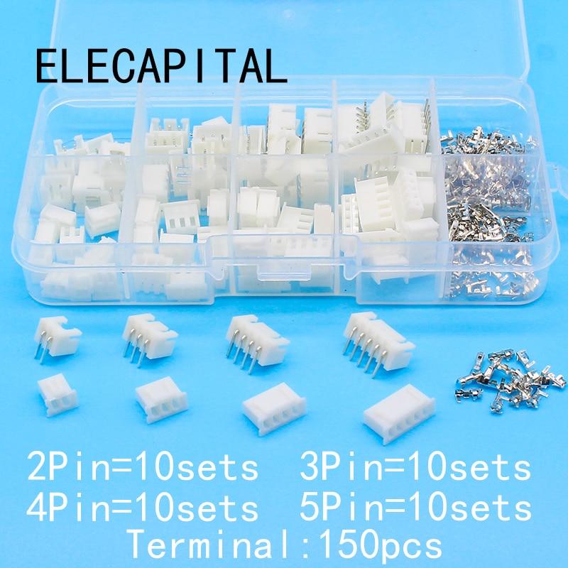 40 sets Kit in box 2p 3p 4p 5pin Right angle 2.54mm Pitch Terminal / Housing / Pin Header Connector Adaptor XH Kits