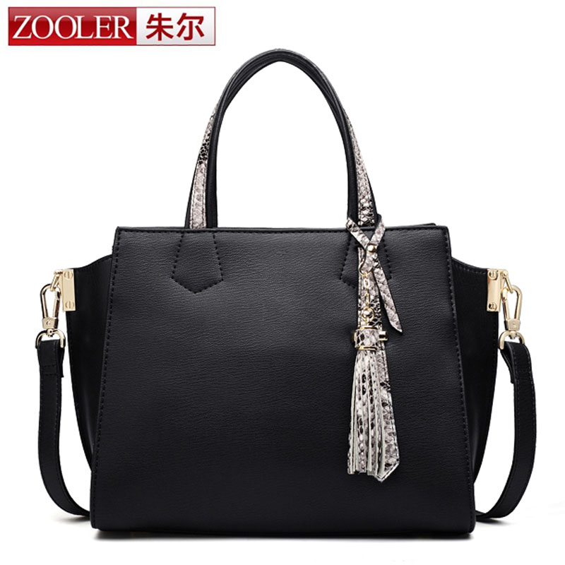 ZOOLER Brand High Quality Genuine Leather Handbag Female Luxury Handbags Women Black Bags New Designer Tassel Shoulder Bag bolsa women messenger bags designer handbags high quality 2017 new belt portable handbag retro wild shoulder diagonal package bolsa