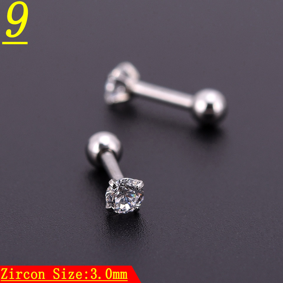 10pcs Silver Zircon Crystal Heart Round Ball Tongue Lip Bar Ring Stainless Steel Barbell Ear Stud Body Piercing Jewelry