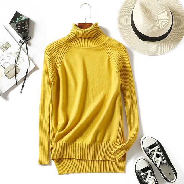 Women turtleneck sweaters knitted pullovers long sleeves basic irregular tricots autumn winter wool tops warm loose multicolor