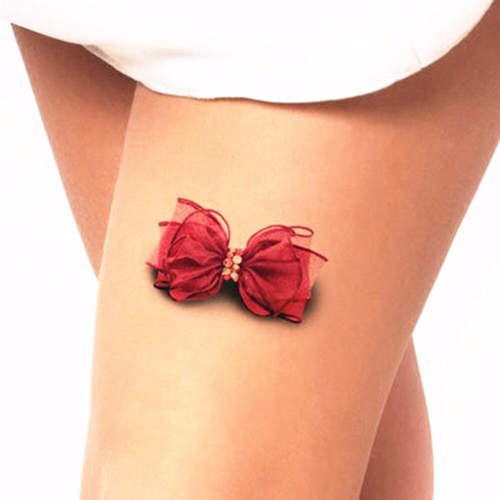 Waterproof Henna Tattoo Selfie Fake Wall Sticker Beauty 3D Bowknot ...