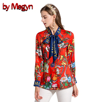 By Megyn 2017 Fashion Designer Runway Women Blouses Bow Long Sleeve Shirt Snake Print Women Blouses