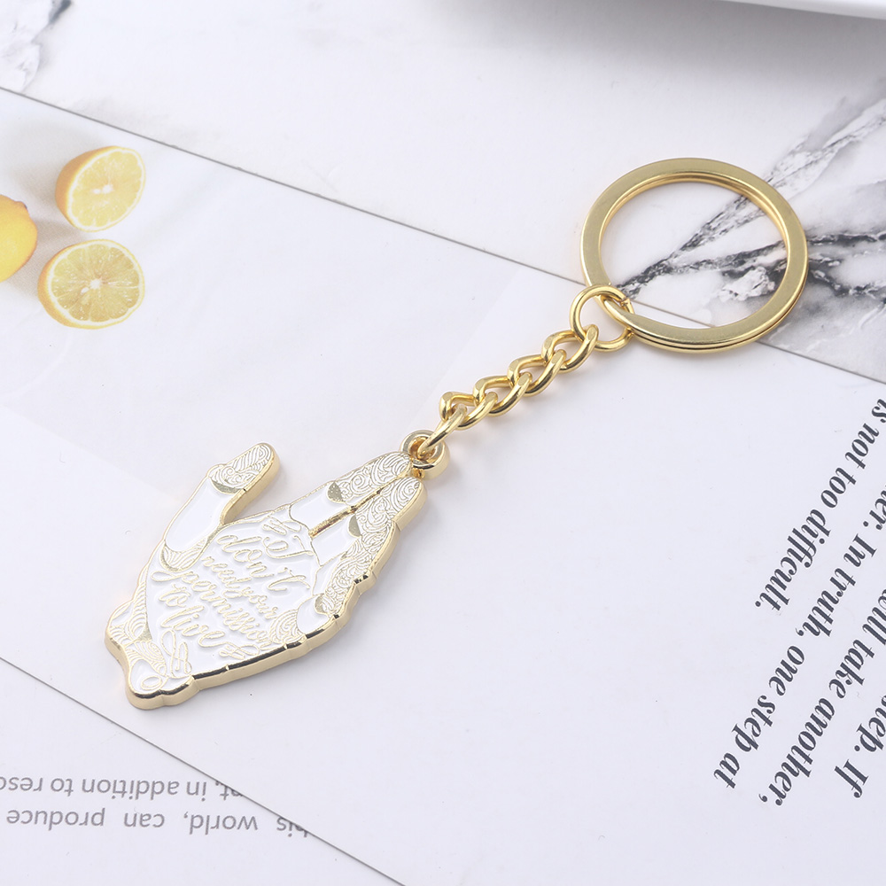Alita Battle Angel Golden Hand KeyChain Metal Pendant Keyrings Gift