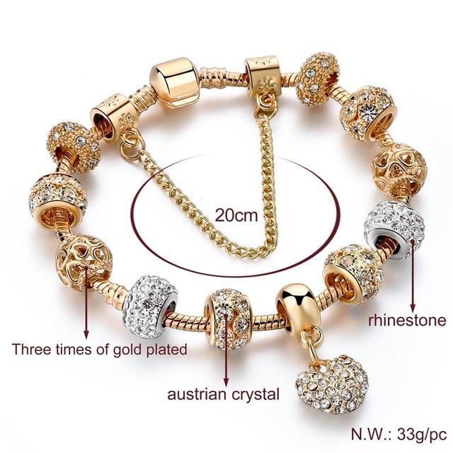 ATTRACTTO Luxury Crystal Heart Charm Bracelets&Bangles Gold Bracelets For Women Jewellery Pulseira Feminina Bracelet Sbr170020 5