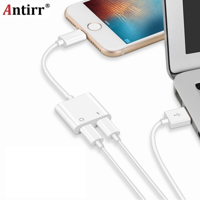 pretty nice c964b 1310f US $1.96 30% OFF|Double Jack Audio Adapter for iPhone 7/8/X Suppore iOS 11  Charging Music or Call For Headphone Audio Adapter Converter-in Earphone ...