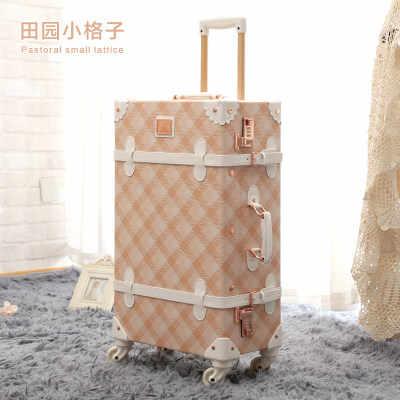 Ретро из искусственной кожи сумки на колёсиках комплект Spinner Чемодан Колеса Винтаж кабина тележка женская сумка дорожная