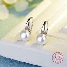 925 пробы серебряные серьги с большим прозрачным жемчугом, простые круглые белые жемчужные серьги, ювелирные изделия, классические серьги для женщин, элегантные подарки