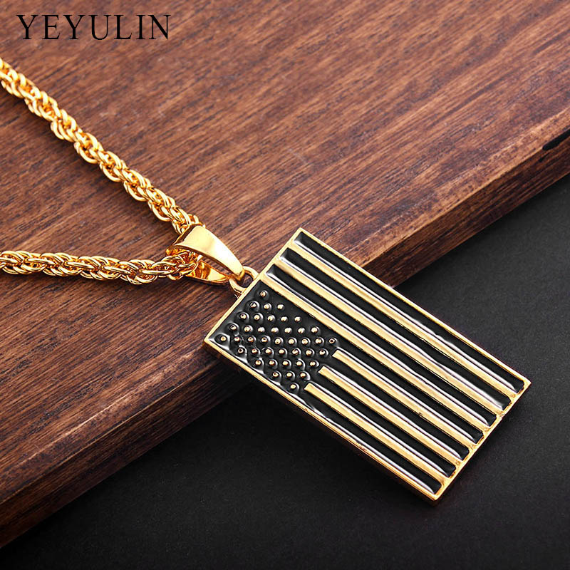 4e9af6cd2e15 Creative Design Alloy Gold Color American Flag Pendant Necklace USA Patriot  Freedom Stars And Stripes Necklace Jewelry -in Pendant Necklaces from  Jewelry ...