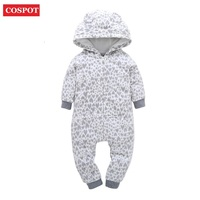 COSPOT Baby Boys Girls Christmas Romper Warm Cotton Xmas Jumpsuits For Newborns Infant Thick Hooded Romper