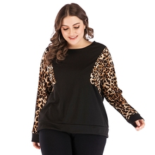 New fashion spring Summer women cotton stitching leopard long raglan sleeve O-Neck plus size Casual Tees Tops T Shirt 4XL недорого