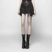 PUNK RAVE Women Punk Rock Streetwear A line Dress Fashion Girls Korean Style Cotton Skirt Gothic Party Skirt