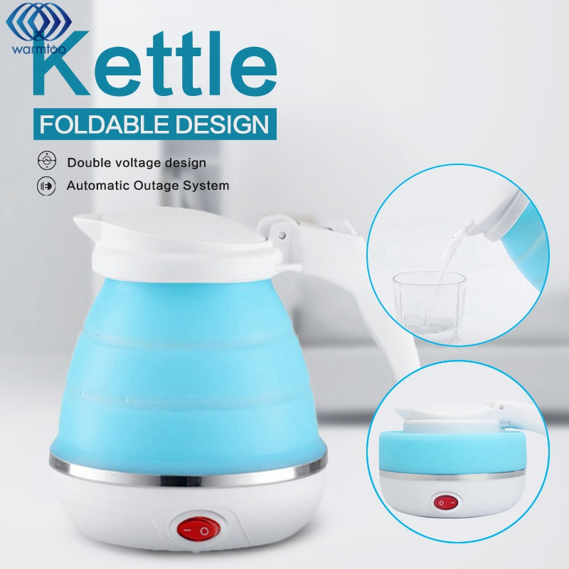 0.75L Electric Kettle Silicone Foldable 680W Portable Travel Camping Water Boiler Adjustable Voltage Home Electric Appliances 700w portable food grade plasctic electric kettle thermal insulation teapot 0 5l home travel water boiler seperated underpan