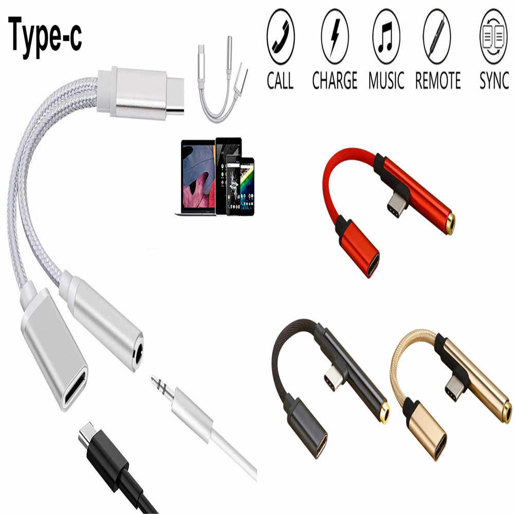 2 style 2 in 1 Type C to 3.5mm Earphone Cable 3.5mm Jack AUX Audio Cable Adapter Charging Cable For Xiaomi 6 Huawei Samsung S9