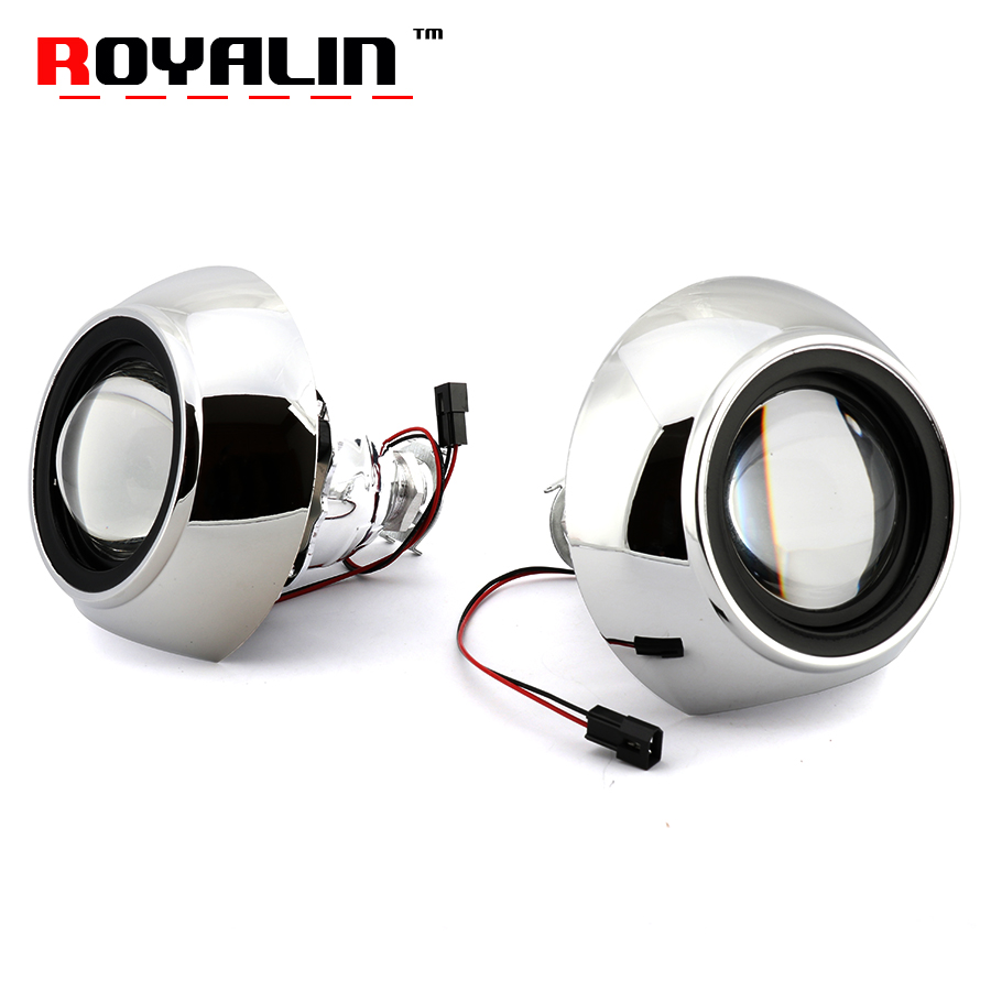 ROYALIN Mini Metal Bi Xenon H1 Projector Lens For IRIS Shrouds Car Styling H4 H7 For Audi A6 C6 External Headlight Retrofit-in Car Light Assembly from Automobiles & Motorcycles    1