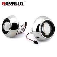 ROYALIN Mini Metal Bi Xenon H1 Projector Lens For IRIS Shrouds Car Styling H4 H7 For Audi A6 C6 External Headlight Retrofit