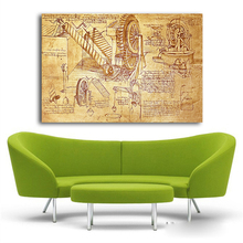 DaVinci Invention Letter Abstract Oil Painting