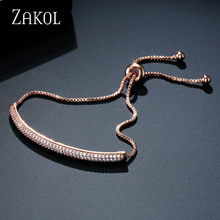 ZAKOL Charm Rose Gold Color Bracelets AAA CZ Stone Geometric Shaped Chain & Link Bracelets Best Jewelry Gift For Women FSBP2025(China)