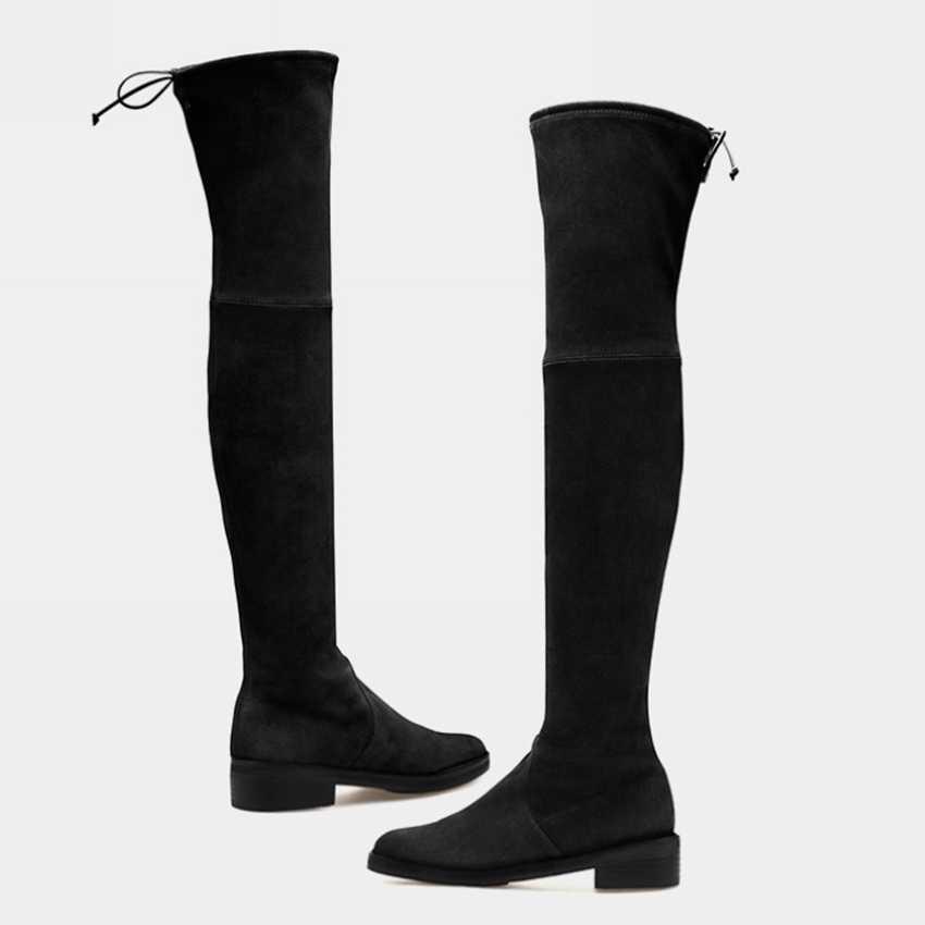 Frauen Oberschenkel Hohe Punk Stiefel Damen Über Die Knie Boot Frau Faux Wildleder Winter Schuhe Frauen Schnee Winter Stiefel Mit pelz Schuh