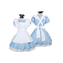 2019 New Halloween Women Adult Anime Alice In Wonderland Blue Party Dress Dream Sissy Maid Lolita Cosplay Costume