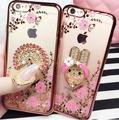 Tpu flor anel pavão diamond case para iphone 6 6 s plus 7 além de metal rodada kitty fox dedo stand holder capa para iphone 6 s