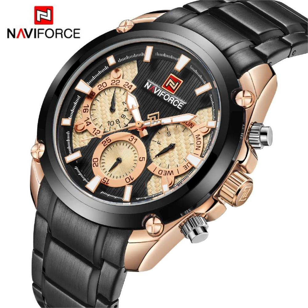 NAVIFORCE Top Brand Mens Fashion Quartz Wrist Watch Waterproof Stainless Steel Military Sports Watches Clock Relogio MasculinoNAVIFORCE Top Brand Mens Fashion Quartz Wrist Watch Waterproof Stainless Steel Military Sports Watches Clock Relogio Masculino