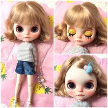 Factory Blyth Doll short hair wave Blonde hair Blyth Dolls Joint Body DIY BJD toys Fashion toy for Girl