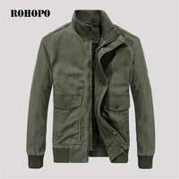 ROHOPO 100% Cotton thickness autumn bomber jacket men 2018,camouflage inner military cargo jacket,army working fight jacket