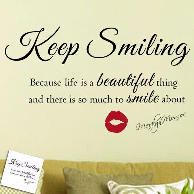 Marilyn Monroe Keep Smiling Quote Vinyl Muur Art Sticker