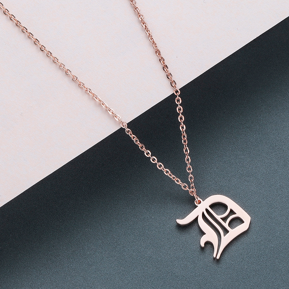 Todorova Old English Custom Capital Initial A-Z Letter Pendant Necklace Men Vintage Font Personalized Necklace Women Jewelry 10