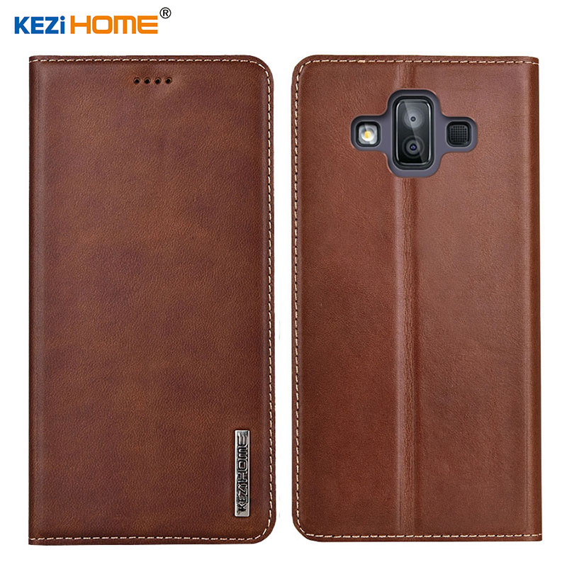 Case for Samsung Galaxy J7 Duo KEZiHOME Luxury Genuine Leather Flip wallet Cover for J7 Duo 2018 J720F Phone cases